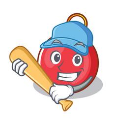 Playing baseball christmas ball character cartoon vector