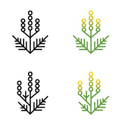 Ragweed minimalistic line art painted in two vector