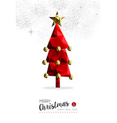 Red Christmas tree decoration for greeting card vector image