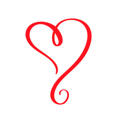 red valentines day hand drawn calligraphic vector image