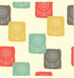 retro block print flowers stamp seamless pattern vector image