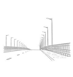 road graphic art black white landscape sketch vector image