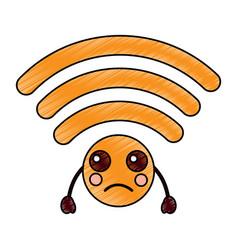 Sad wifi kawaii icon image vector