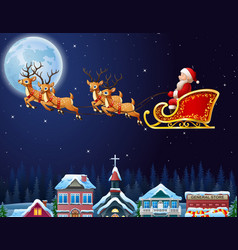 santa claus riding his reindeer sleigh flying over vector image