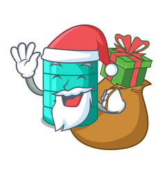 Santa with gift cartoon water tank for in vector