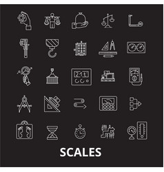 scales editable line icons set on black vector image