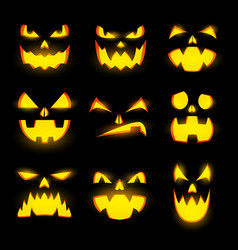 scary pumpkin faces isolated icons set vector image