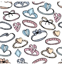 Seamless pattern with stylized rings for girl and vector image