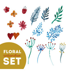 Set floral watercolor vector