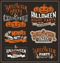 set halloween typographic design vector image