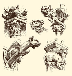 Set of gargoyles chimera of notre-dame de paris vector