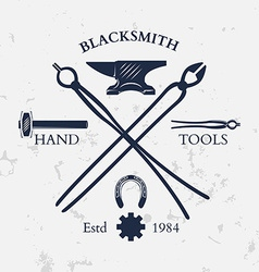 Set of vintage blacksmith labels and design vector image