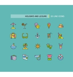 set thin lines icons holidays and leisure vector image
