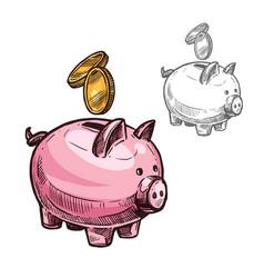 Sketch piggy bank and golden coins icon vector