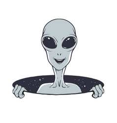 Smiling alien peeps out from hole space vector