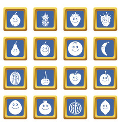 smiling fruit icons set blue vector image