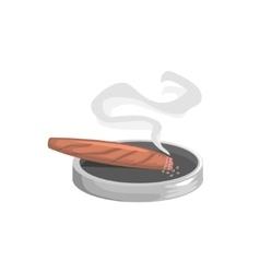 Smoking Cigar With Ashtray vector