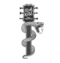 snake on guitar head design element for poster vector image