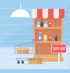 Sold out shelf and cart supermarket food excess vector