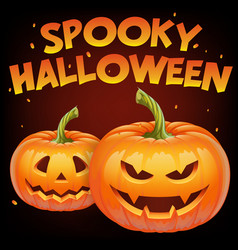 spooky halloween banner with halloween pumpkin vector image