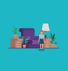 Teenager girl in livingroom vector