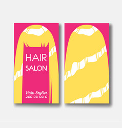 template design card with long blonde hair on pink vector image
