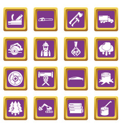 timber industry icons set purple square vector image