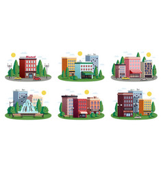 town houses summer compositions set vector image