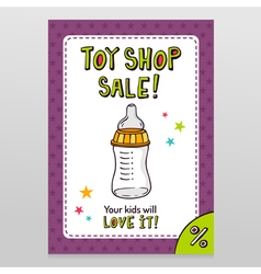 Toy shop sale flyer design with feeding bottle vector image
