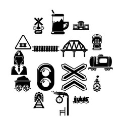 train railroad icons set simple style vector image