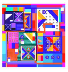 Trendy geometric elements memphis colorful vector