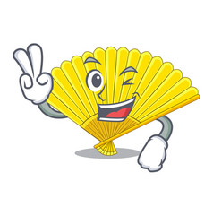 Two finger souvenir folding fan in character shape vector