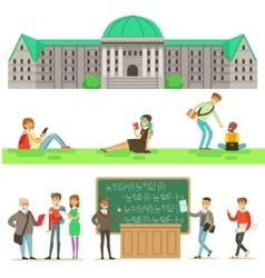 University Education Students And Professors Set vector
