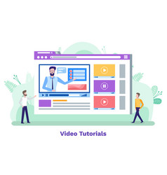 video tutorial online courses with tutor students vector image