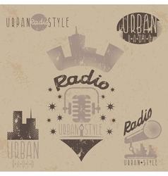 Vintage grunge labels of urban radio with vector