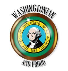 Washington proud flag button vector