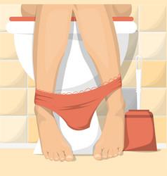 woman sitting on toilet female legs vector image