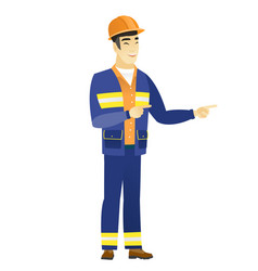 young asian builder pointing to the side vector image