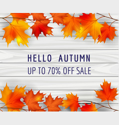 autumn sale poster background with leaves vector image