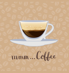 coffee cup on coffee beans background vector image