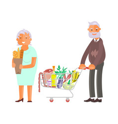 elderly people on shopping vector image vector image