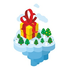 Flying Christmas Island Gift and Christmas tree vector image vector image
