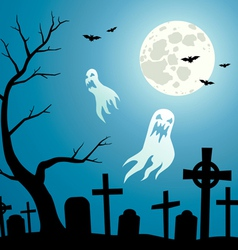 Graveyard with ghosts vector image vector image