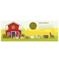 Rural landscape and farm animal background vector image vector image