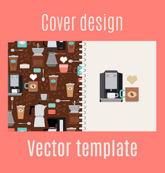 cover design with coffee maker pattern vector image