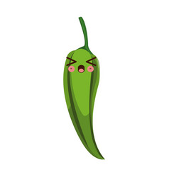 kawaii green chili pepper vegetable fresh food vector image