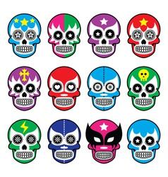 Lucha libre - sugar skull masks icons vector
