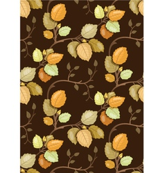 Repeating pattern with swirling autumn leaves vector image