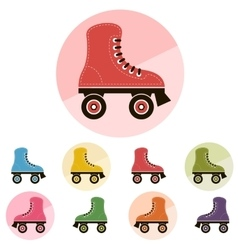 roller skates icon set vector image vector image