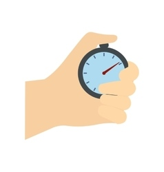 Stopwatch in hand flat icon vector image vector image